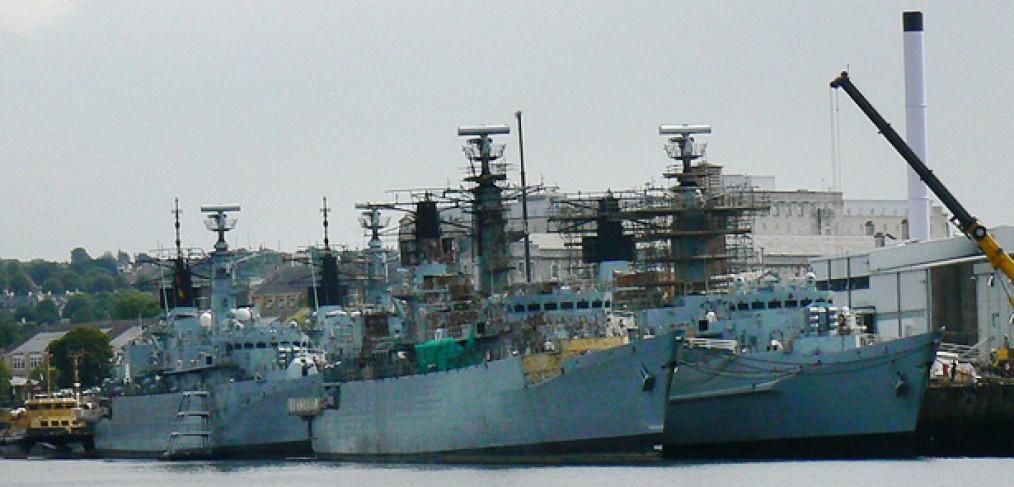 Type 22 frigates on 'death row' Devonport, July 2011