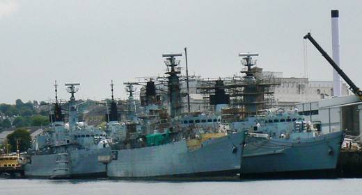 Type 22 frigates on 'death row' Devonport, July 2011