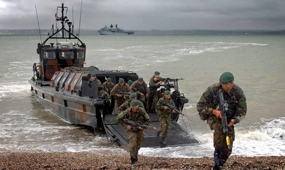 Royal Marines beach assault form LCVP