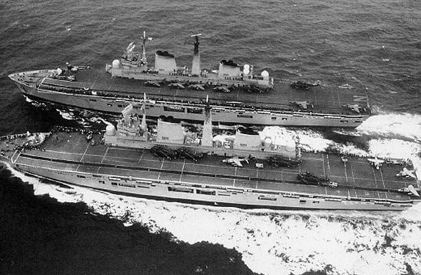 HMS Illustrious relieves Invincible August 1982