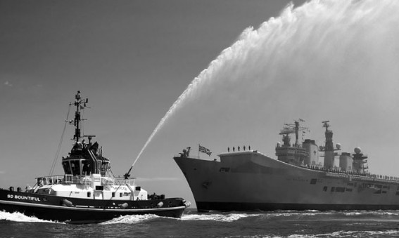 HMS Illustrious enters Portsmouth for the final time
