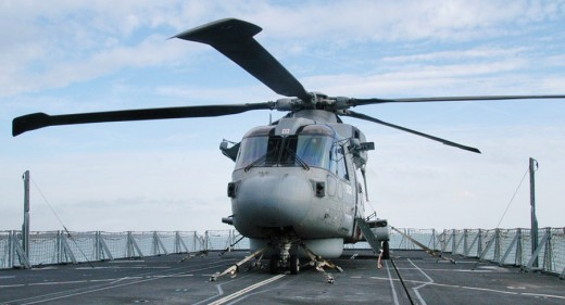 Royal Navy Merlin Helicopter on flight deck of HMS Sutherland
