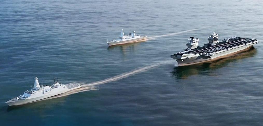 Type 26 Frigate escorts aircraft carrier