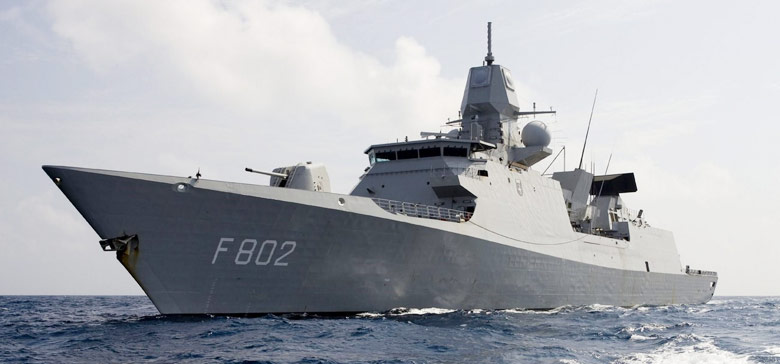 Dutch Frigate De Zeven Provinciën fitted with r SMART-L and the multi-function radar APAR tracking radar & carries 32 SM-2 Block IIIA missiles
