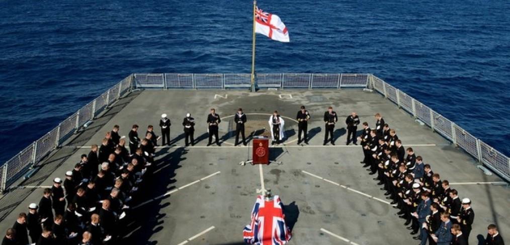 Remembrance day service, HMS Dragon