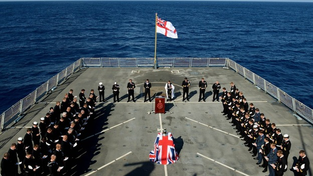 Remembrance day service, HMS Dragon