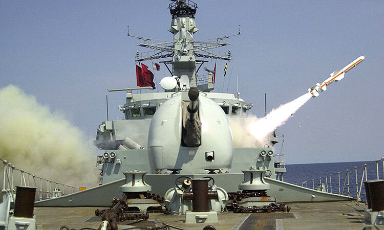 Harpoon anti ship missile launched by Type 23 Frigate