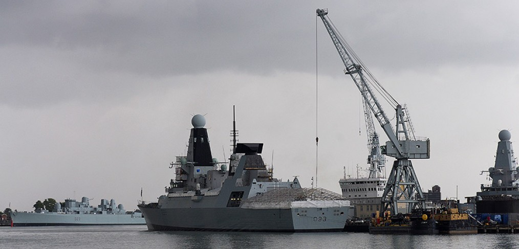 HMS Dauntless alongside in Portsmouth