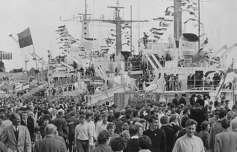 Large crowds at Chatham Navy Days in 1968 que to visit white-painted hydrographic survey ships