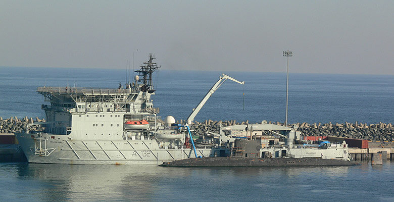 RFA Diligence conducts engineering work on Trafalgar class submarine, Fujairah, UAE