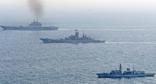 HMS St Albans shadows Russian warships