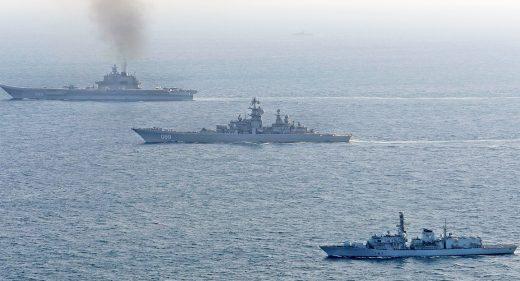 HMS St Albans shadows Russian warships