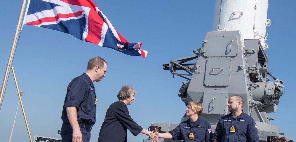 Theresa May aboard HMS Ocean