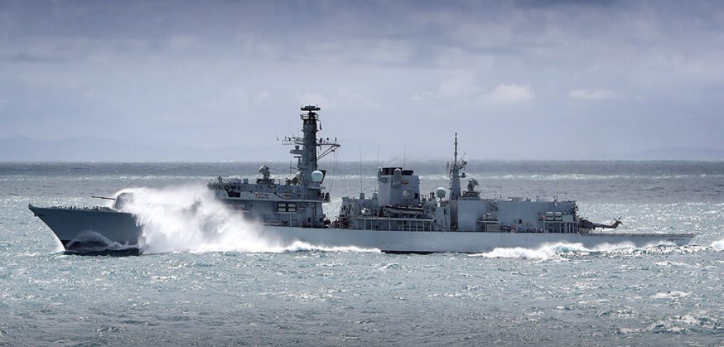 Type 23 frigate in heavy weather