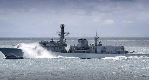 Type 23 frigate in heavy weather
