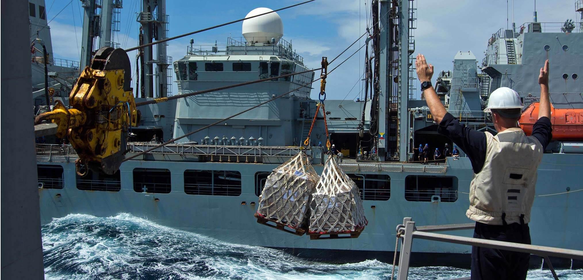 Repenishment at Sea. Heavy Jackstay Transfer