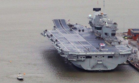 HMS Queen Elizabeth alongside in Portsmouth
