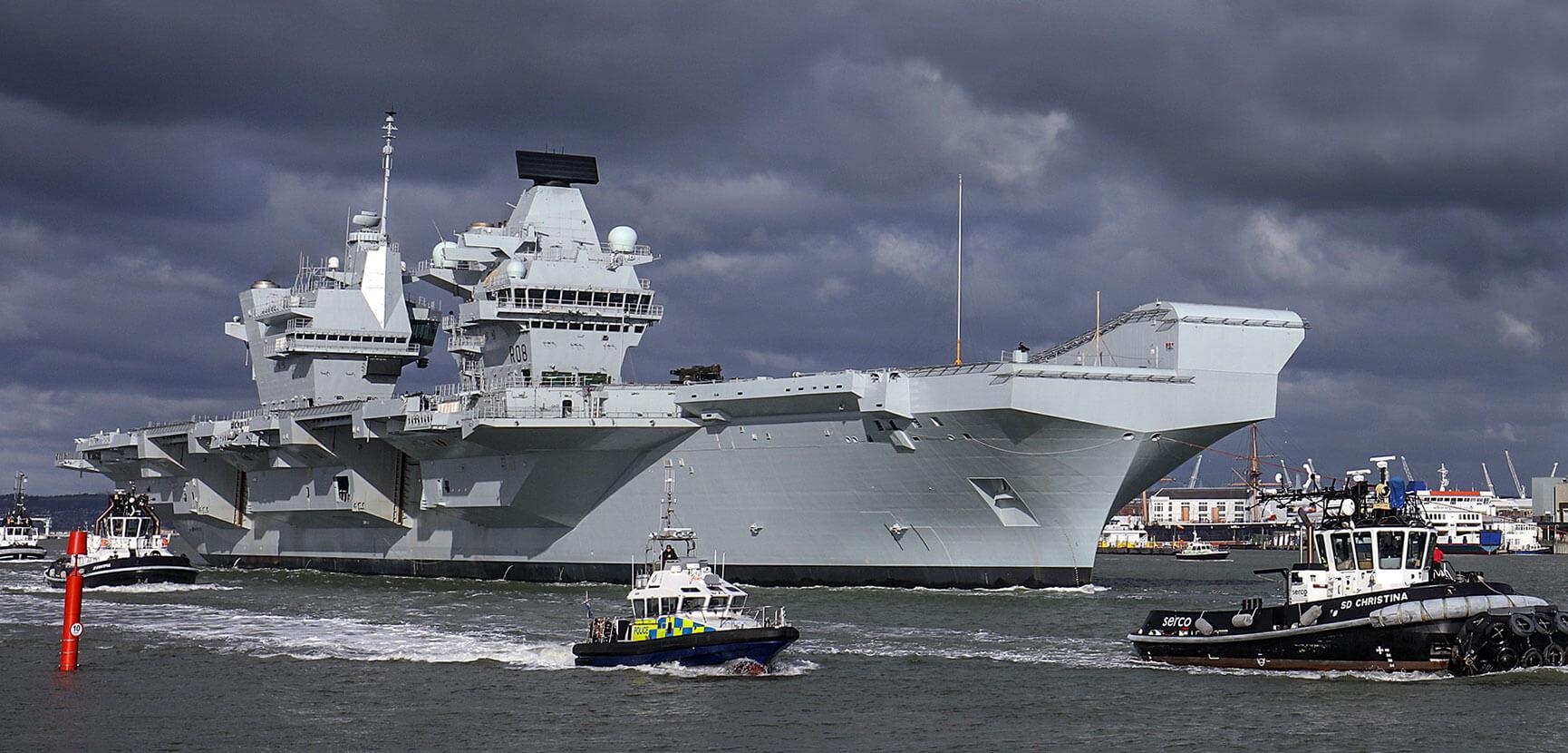 HMS Queen Elizabeth depart Portsmouth
