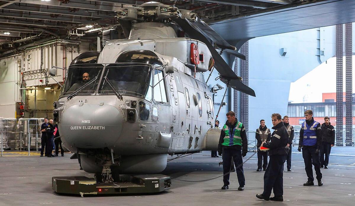 Merlin Mk2 Helicopter Hangar HMS Queen Elizabeth