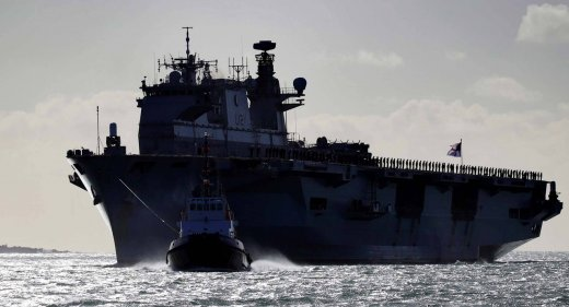 HMS Ocean enteres Devonport for the final time