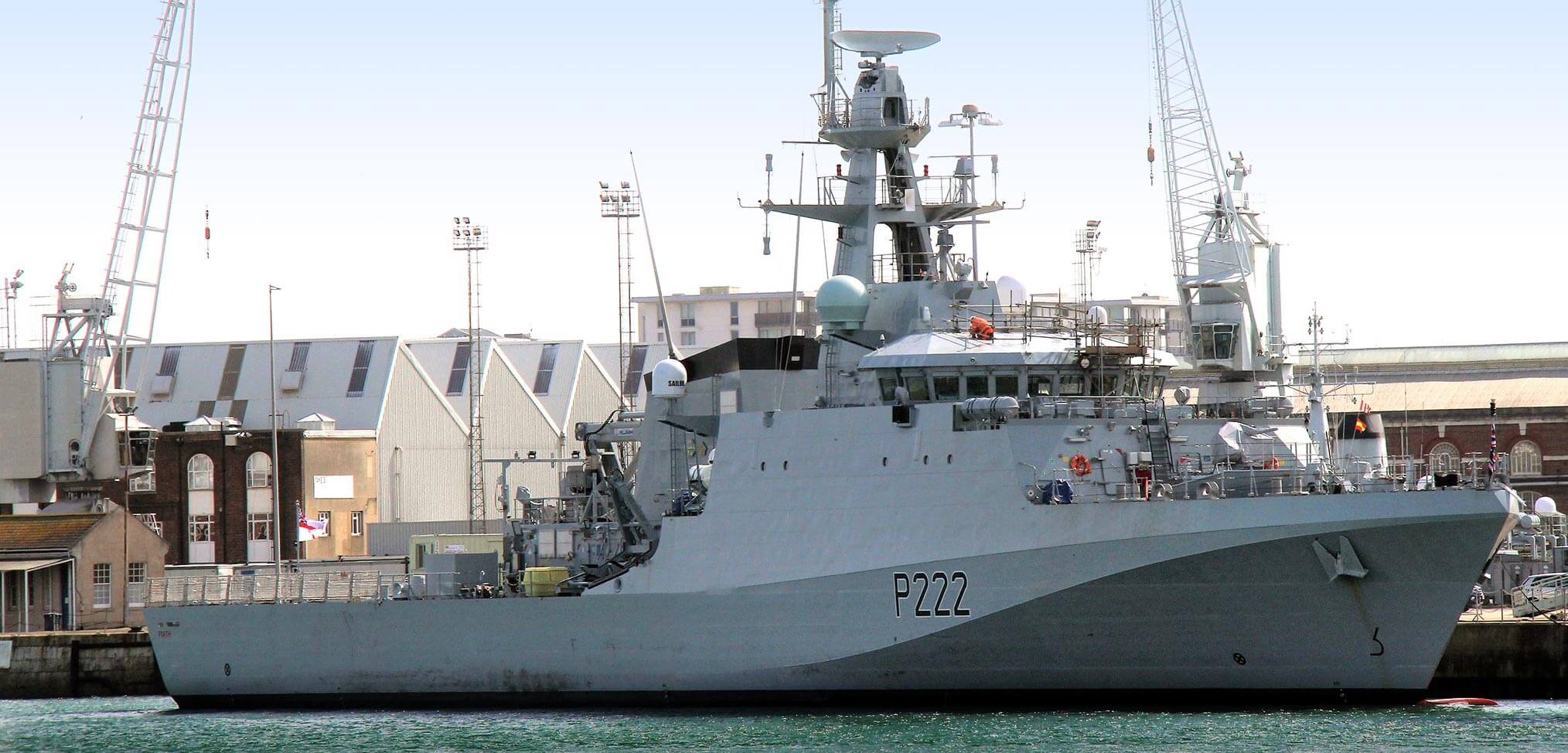 HMS Forth alongside in Portsmouth
