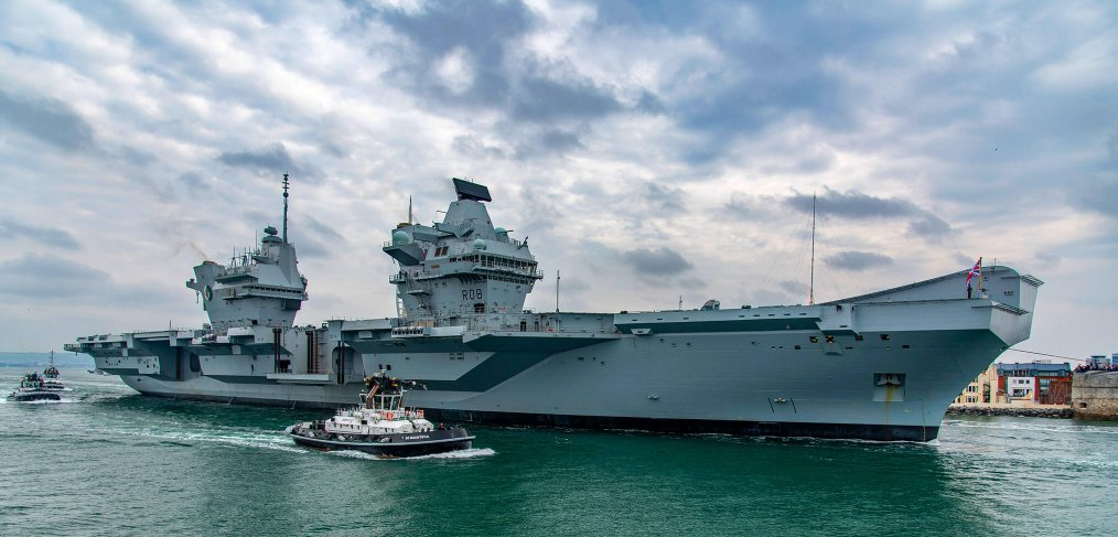 HMS Queen Elizabeth Sails for Helicopter trials