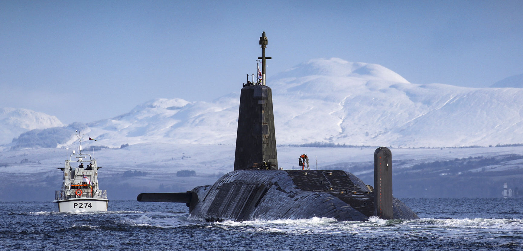 Trident submarine approaches Faslane