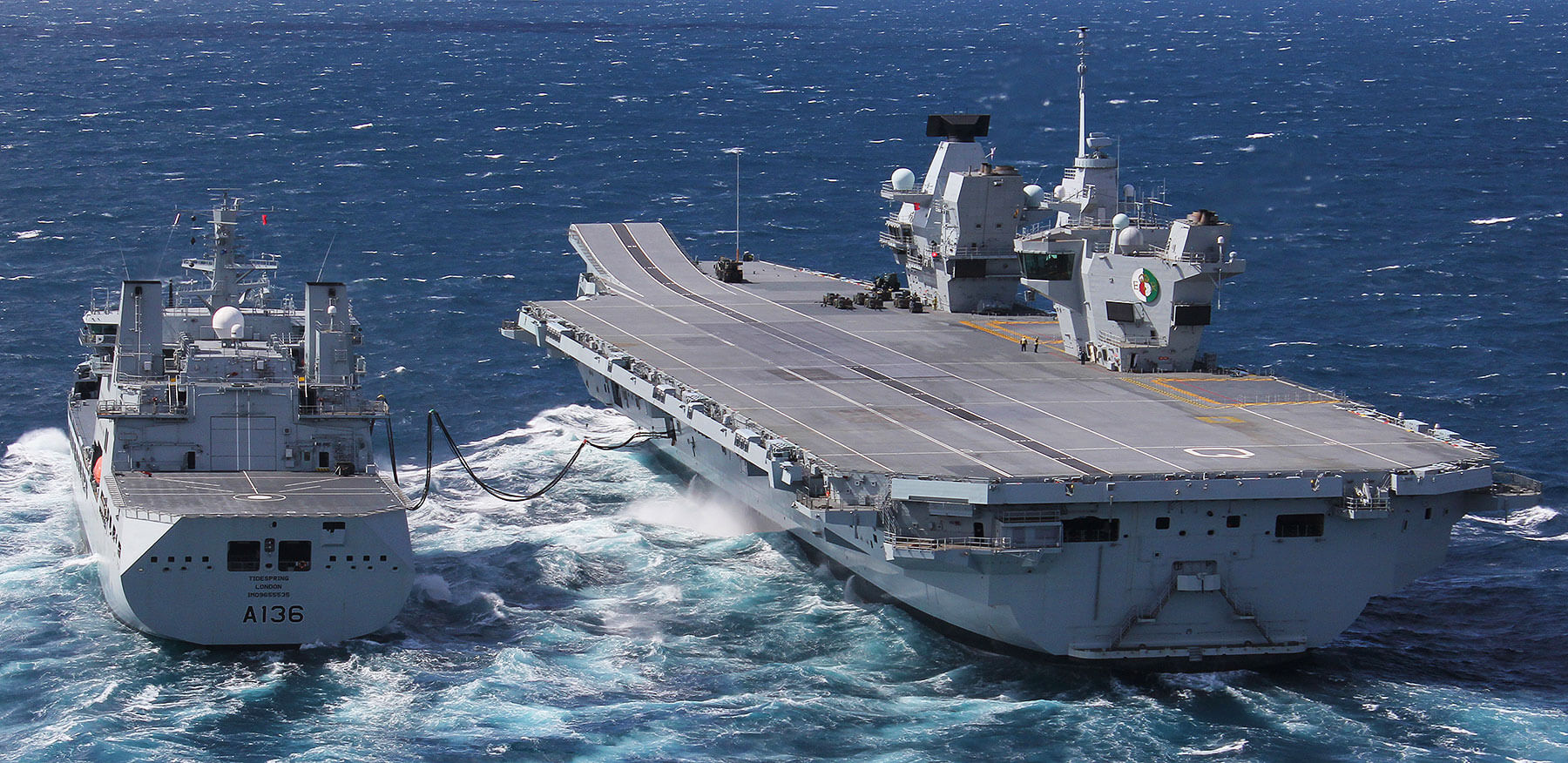 RFA Tidespring conducts the first trial refuelling of HMS Queen Elizabeth