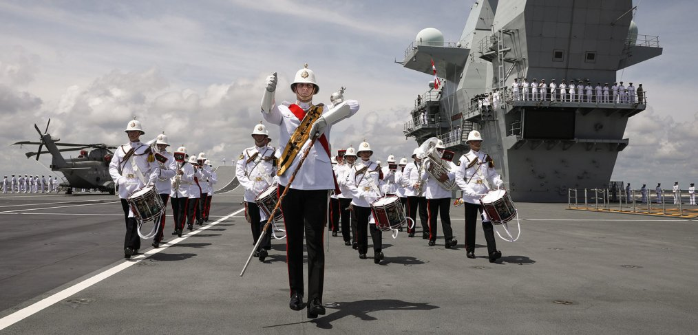 Royal Marine band - HMS Queen Elizabeth enters Mayport Florida