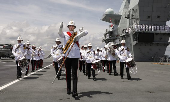Royal Marine band - HMS Queen Elizabeth enters Mayport Florida