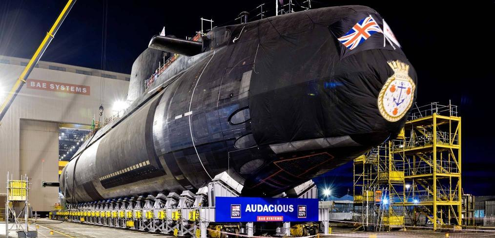 HMS Audacious rolled out of the build hall Barrow 2017