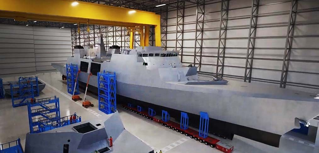 Type 31 frigate in the ship module hall Rosyth