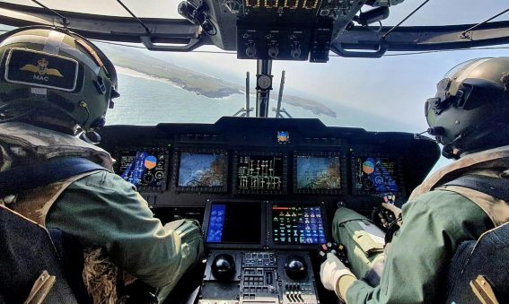View from Royal Navy Merlin helicopter Cockipt