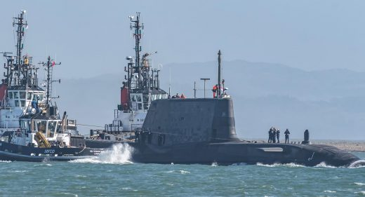 HMS Audacious leaves Barrow