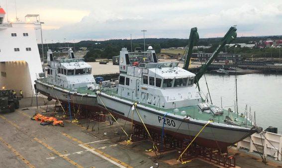 P2000 Patrol Botas loaded onto MV Hurst Point for Gibraltar