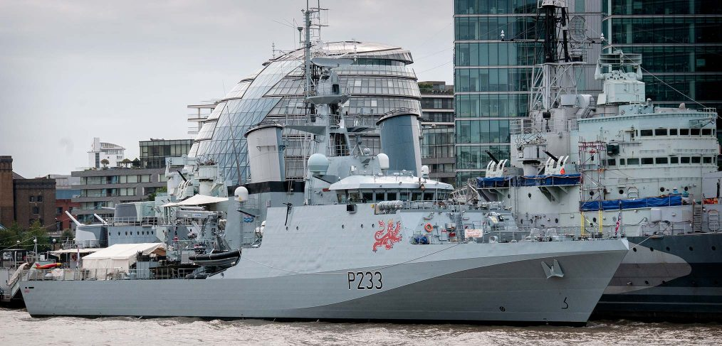 HMS Tamar in London with HMS Belfast