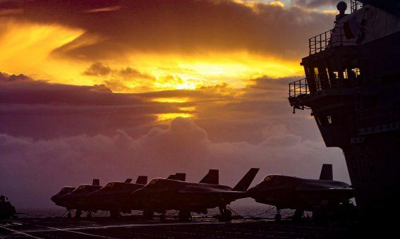 F-35 on Deck Sunset HMS Queen Elizabeth