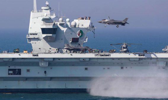 US Marine Cops F-35 vertical Landing HMS Queen Elizabeth